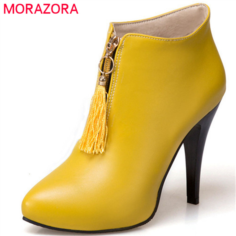 MORAZORA PU soft leather thin heels shoes woman ankle boots for women in spring autumn fashion boots pointed toe big size 34-45 spring autumn women shoes ankle boots flock bling high thin heels fashion sexy pointed toe zip zipper big size embroidery flower