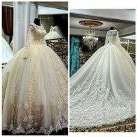 Свадебное платье 2018 Мода Jewel аппликация из бисера с длинным рукавом Паффи Принцесса свадебное платье невесты Платья для женщин