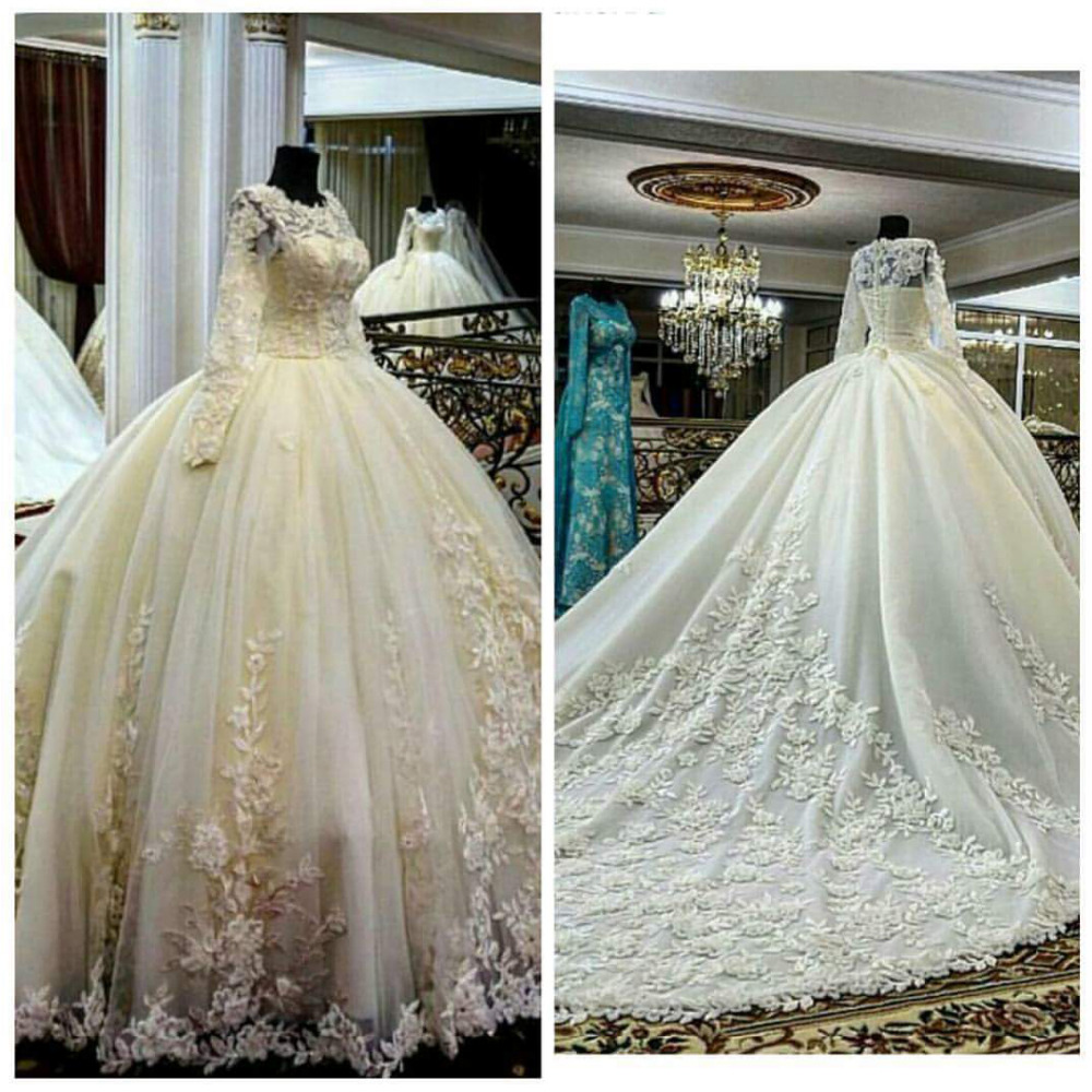 wedding-  dress   2018 Fashion Jewel Appliqued Beaded Long Sleeve Puffy Princess Bridal gown   bridesmaid     Dresses
