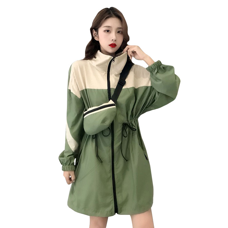 2019 Women's Casual Hooded Retro Windbreaker Coat Loose Overcoat Outerwear Coat Solid Color   Trench   Belt Slim Tops Coat Harajuku