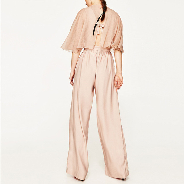 WISHBOP Woman Nude Long jumpsuit with cape wrapped V-neck front cap sleeves  elastic waist matching belt ties bow knotted back 35a1bd285496