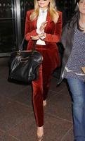 Red business suits ladies work pants women office work suit set suit velvet