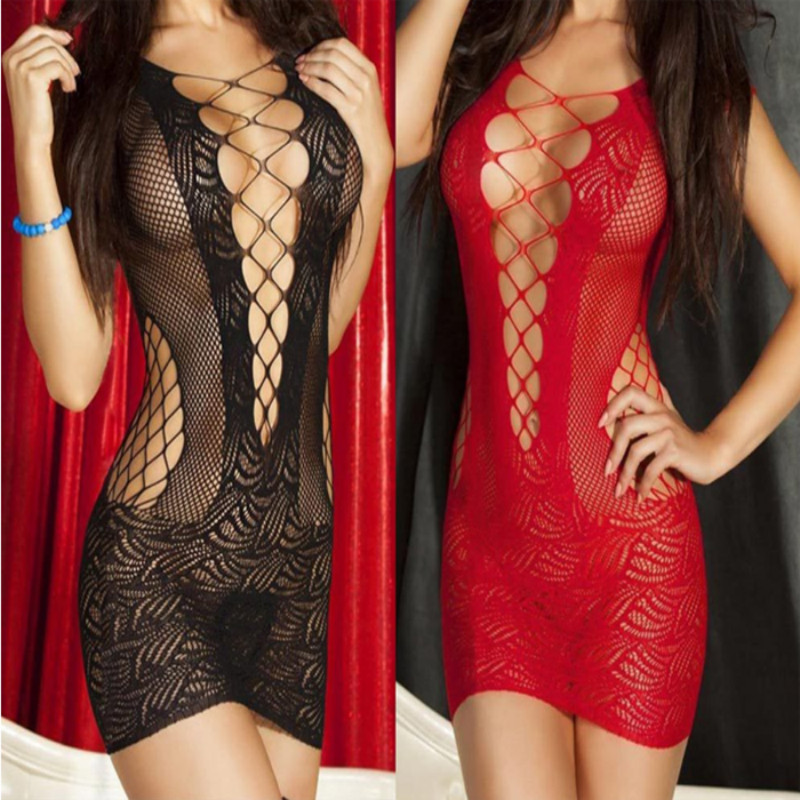 2018 Womens Sexy Lingerie Babydoll Sleepwear Underwear Lace Dresses Nightwear Crochet   Nightgowns     Sleepshirts