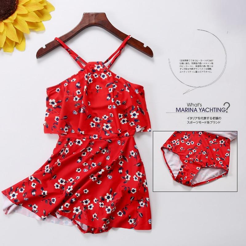 New One Piece Girls Swimsuit Red Swimwear