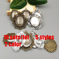 10 sets/lot 5 Styles (Fit18*25mm) filigree cameo cabochon base setting pendant + clear glass cabochons Wholesale 2016(A1005)