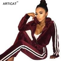 Articat осень-зима бархат Двойка комплект спортивный костюм Для женщин Повседневное на молнии с длинными рукавами с капюшоном Топ и Брюки для д...