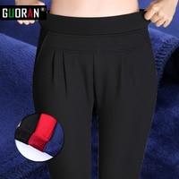 Guoran HOT SALE! harem pants women Plus size velvet warm for winter skinny high waist cotton formal toursers female leggings