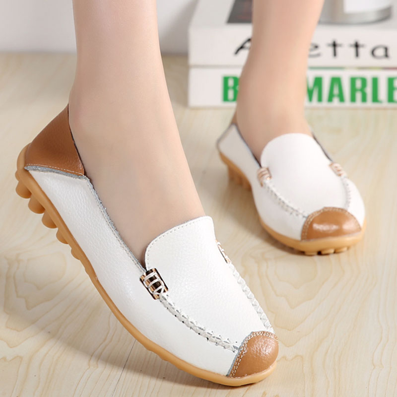 Leather Casual Ballet Flats ladies Round Toe Moccasins Slip On Shoes For Women Espadrilles Ballerina Shoes Zapatos Mujer spring shoes women genuine leather shoes fashion casual loafers fringe slip on round toe solid ballet flats espadrilles women