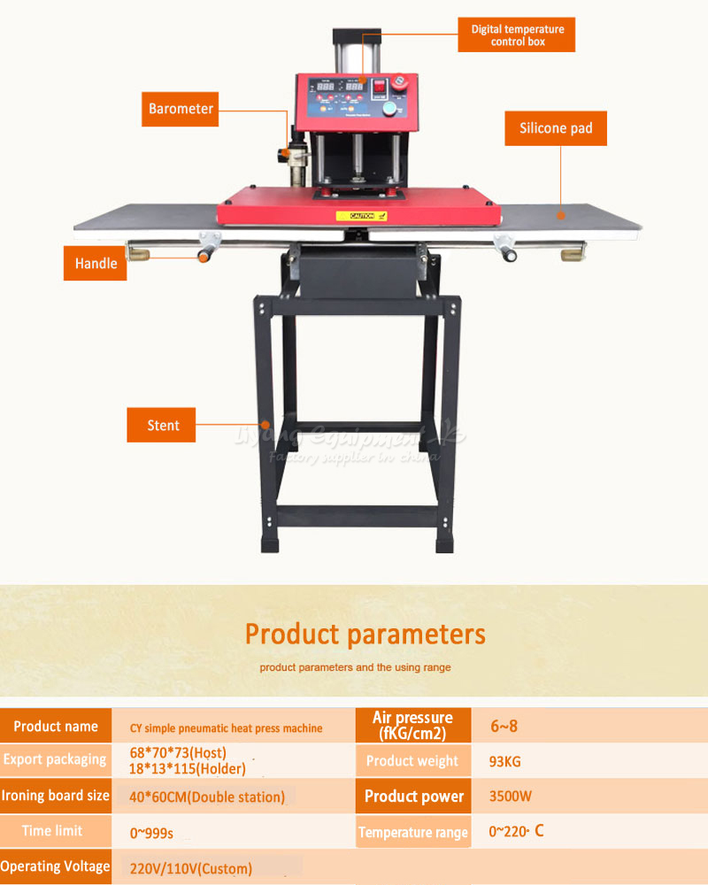 Automatic double - position pneumatic heat press machine 40 * 60CM free tax to RU ru eu no tax automatic lt 60 plane self adhesive label machine