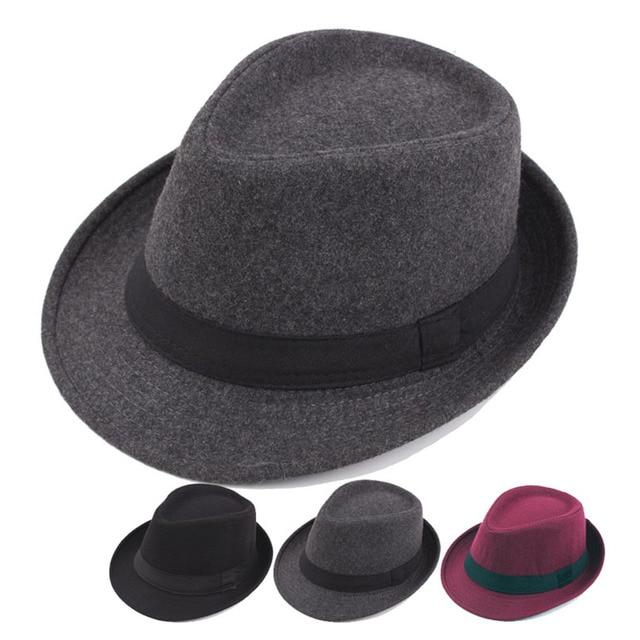 0f5966563cd5d4 2018 Unisex Winter Structured Fedora Hat Woolen Cloth Vintage Hats Men Women  Jazz Felt Hats Cap Panama Caps Casual Solid Hats