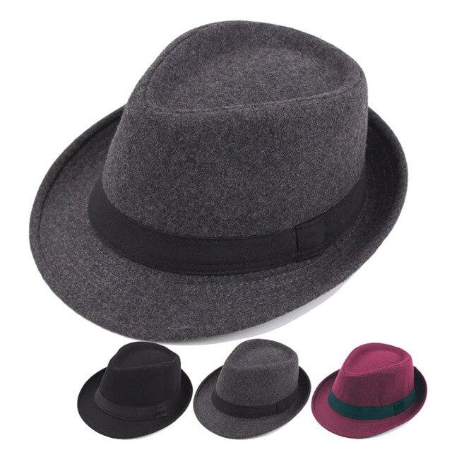 2018 Unisex invierno sombrero Fedora estructurado lana paño Vintage sombreros  hombres mujeres Jazz fieltro sombreros gorra c6e3d6432e1