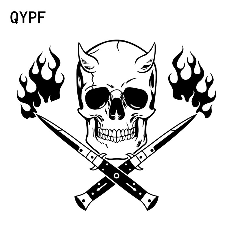 QYPF 18,9*16,3 см Ножи и Fire Skull фильм Классический наклейки мотоцикл наклейки автомобильные аксессуары виниловые украшения C16-0193