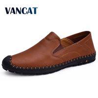 Vancat Big Size Men Genuine Leather Shoes Fashion Slip On Flat shoes For Men Italian Leather Men Loafers Luxury Brand Men Shoes