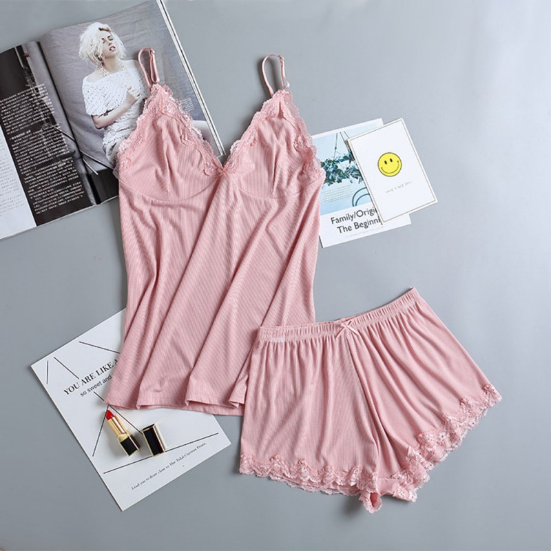Women Lace V-Neck Pyjamas Sleeveless Cami Top and Shorts Woman Pajamas Set Summer Women's Sleepwear