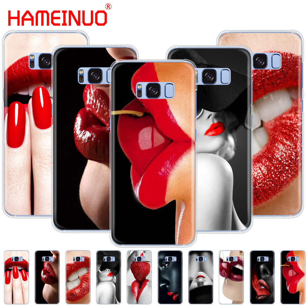 HAMEINUO Red <font><b>Sexy</b></font> Lips girl Luxury Korea Monroe cell phone case cover for Samsung <font><b>Galaxy</b></font> S9 S7 edge PLUS S8 S6 S5 <font><b>S4</b></font> S3 <font><b>MINI</b></font> image