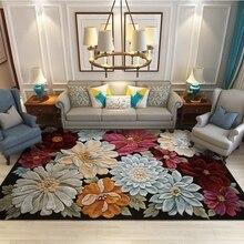 Retro 3D Blooming alfombras florales sala de estar escritorio silla sofá antideslizante alfombra de suelo dormitorio Vintage Tapete alfombra decorativa para el hogar