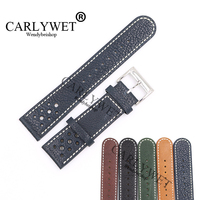 CARLYWET 22mm Wholesale Black Brown Blue Real Leather Handmade Thick Vintage Wrist Watch Band Strap Belt