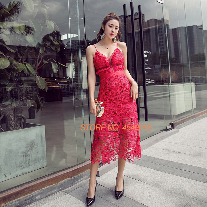 Évider D'été Robe De V cou Qualité Haute Dentelle Femmes Pour Sexy Bretelles Mince Rouge Sans Midi Auto Portrait Parti xzFwAq7X