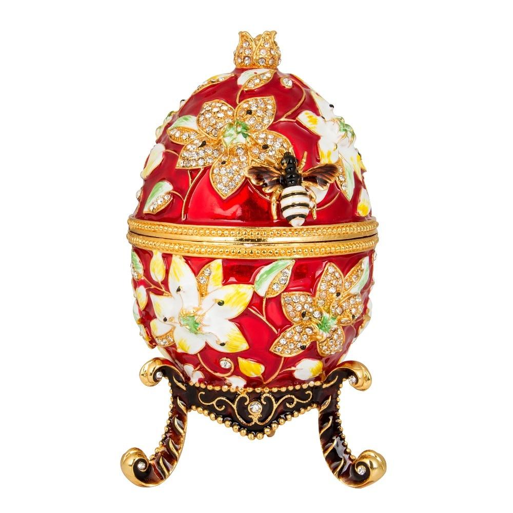 FLETCHER ยี่ห้อโลหะวัสดุสวยงามสีสดใส Faberge ไข่สำหรับตกแต่งบ้าน-ใน รูปแกะสลักและรูปจำลอง จาก บ้านและสวน บน   1