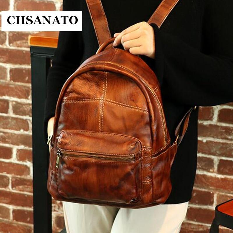 CHSANATO Female Genuine Leather Backpacks Women School Bag Multifunctional Cow Leather Back pack on Shoulder Bags leifheit telegant plus 70