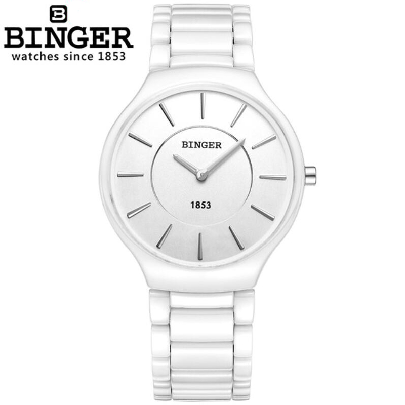 BINGER Lady Ceramics Fashion Watch Waterproof 100M Women Quartz Watch Women's Wrist Watches Male Female Dress Clock Xfcs Relogio