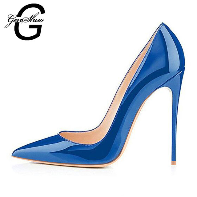 GENSHUO Women High Heels Shoes Stiletto High Heels Women Pumps Shoes Sexy Navy Royal Blue Pointed Toe Woman Shoes Chic