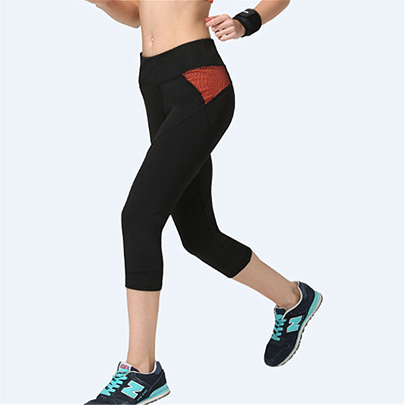 Women Stitching Color Fitness Quick Drying Exercise Leggings Mid Calf Energy Pants Trousers Ropa Mujer