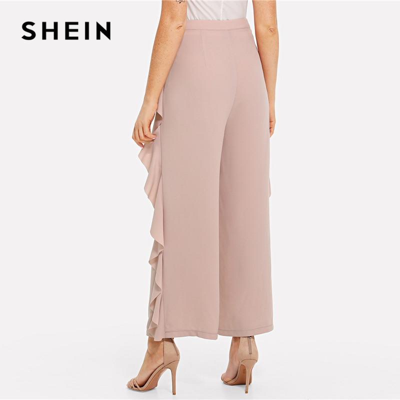 SHEIN Pink Elegant Workwear Ruffle Trim Wide Leg Pocket Zipper Fly Mid Waist Solid Pants Summer Women Going Out Casual Trousers