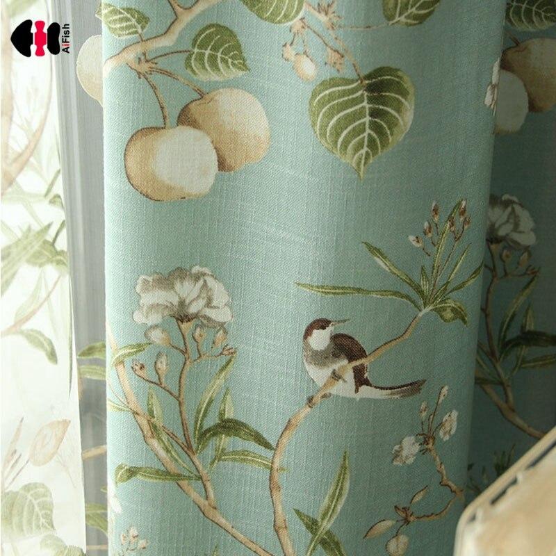 Cortinas para sala de estar con estampado de hojas pastorales, dibujos animados de aves para niños y niños, cortinas de algodón personalizadas para ventana WP145D|Cortinas|   - AliExpress