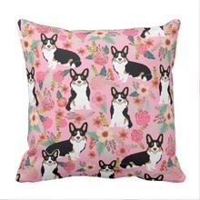 Tri Colored Corgi Floral pillow case - cute corgi gift