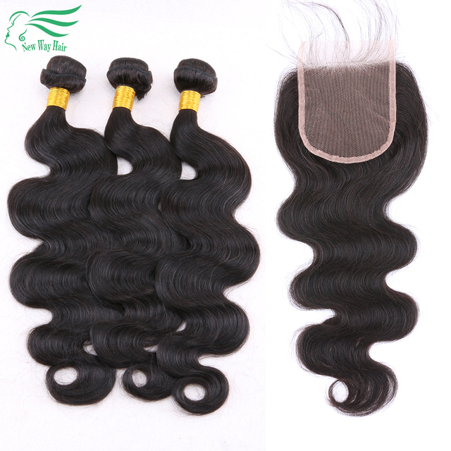 7A Grade Body Wave Peruvian Virgin Hair With Closure 100% Hman Hair Bundles With Closure 4X4 Lace Closure With Body Wave Bundles
