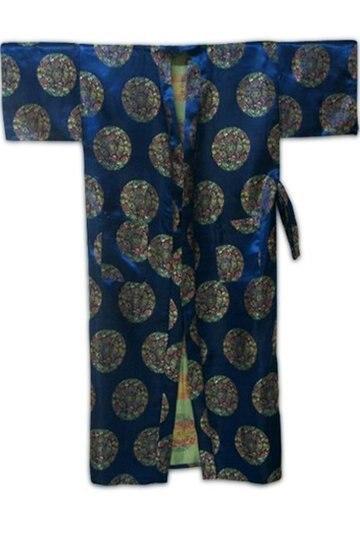 Бесплатная доставка! темно-синий Китайская традиция мужская Полиэстер Атласное Одеяние Кимоно Ванна Платье Пижамы РАЗМЕР Sml XL XXL 3XL LY-4