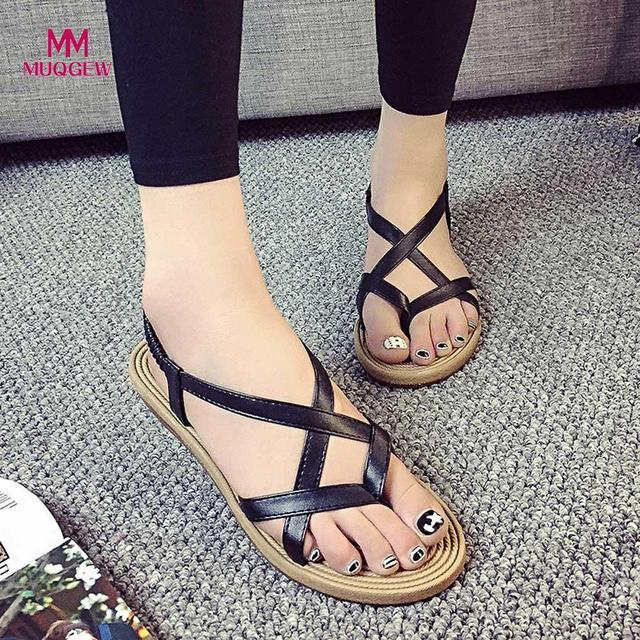 Women Bohemia Flat Shoes Fsahion Bandage Lady Leisure Sandals Peep-Toe Outdoor Shoes Female Summer Beach Sandals Women Shoes