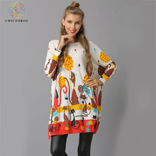 84ff2e48f0d Chictorso Women Christmas Sweaters Girl Long Jumpers Colorful Print Sweater  Dress Batwing Sleeve Autumn Casual Slouchy