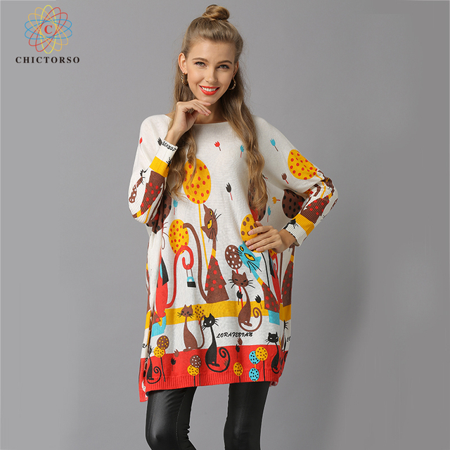 ea20b34091e Chictorso Women Christmas Sweaters Girl Long Jumpers Colorful Print Sweater  Dress Batwing Sleeve Autumn Casual Slouchy Pullover