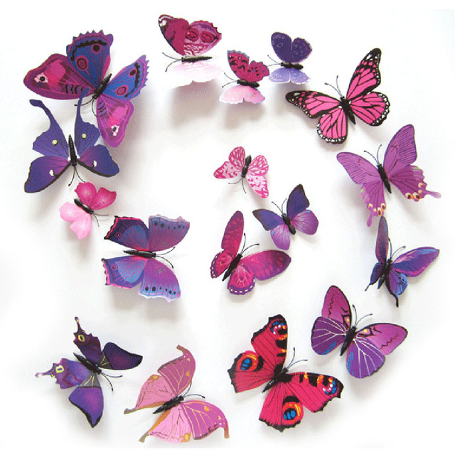 Lovely 12Pcs/lot DIY 3D Butterflies Wall Stickers Magnet PVC Butterflies Wallpaper  Stickers For Kids Room