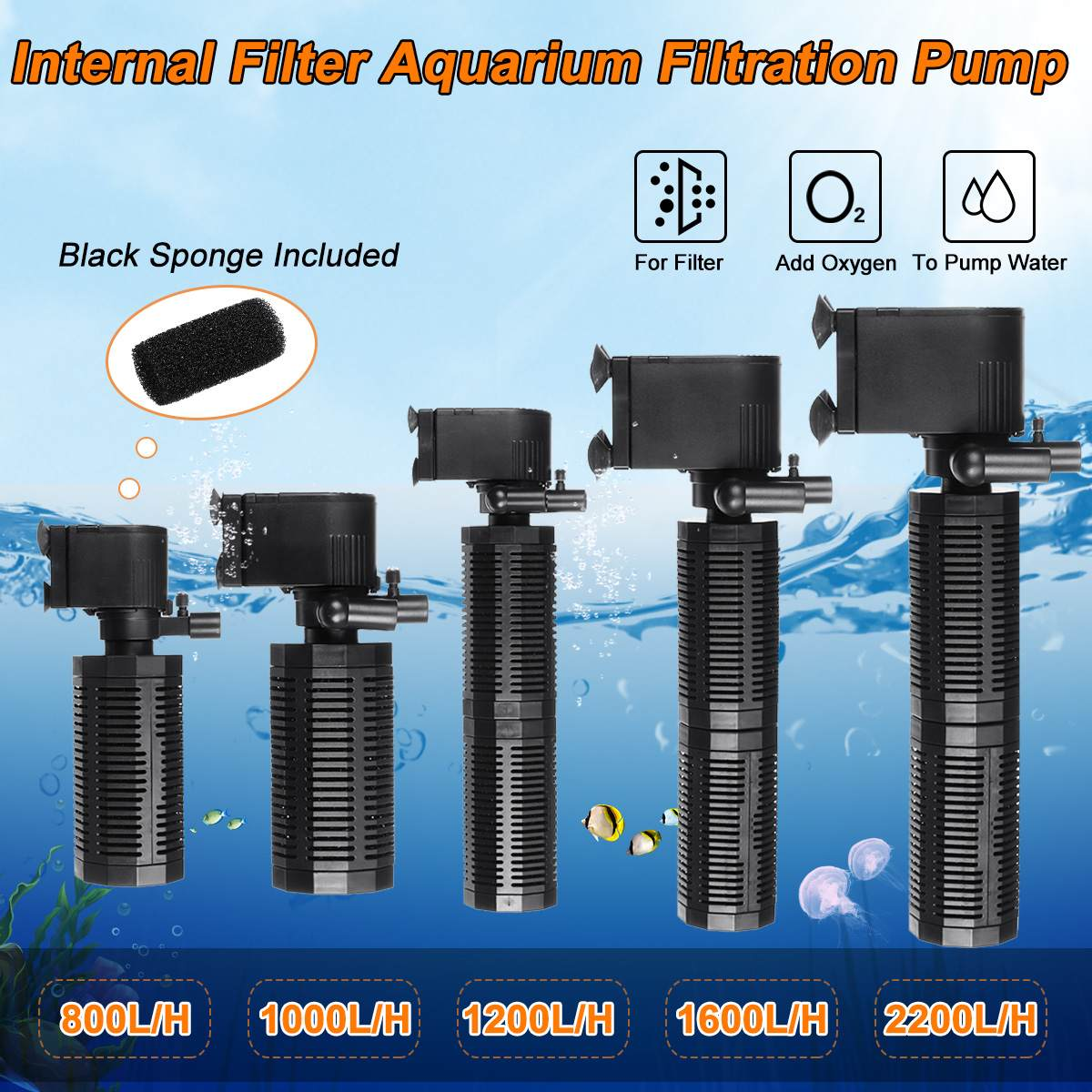 13W/18W/25W/30W/40W Biological Internal Filter Fish Tank Aquarium Filtration Pump 800-2200l/h Submersible Aquarium Water Pump