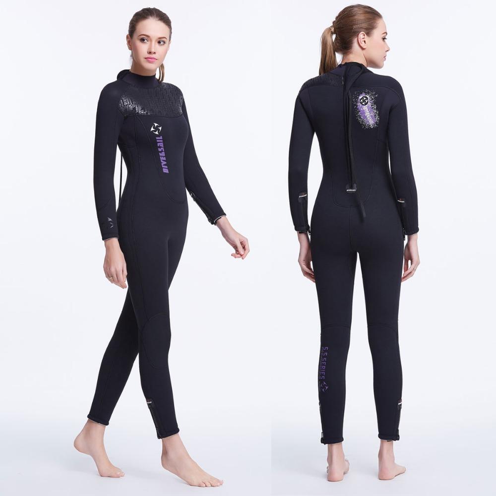 5mm Neoprene Women's Wetsuit Full Suit Flatlock Stitching Premium SCR w/ Warm Plush Lining Jumpsuit Diving Scuba Surfing Woman