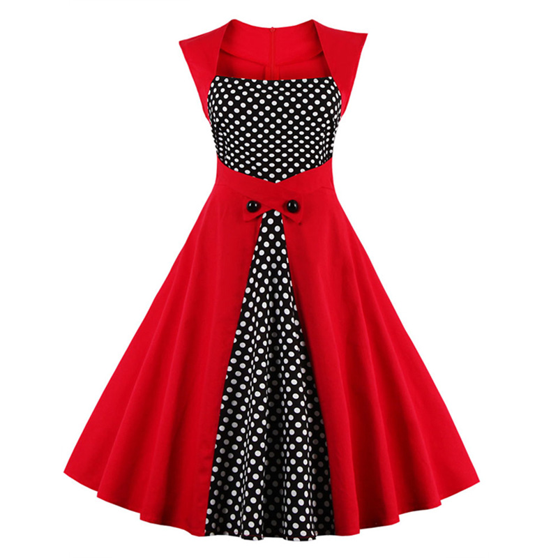 Womens Summer Black Dress White Polka Dots Patchwork ...