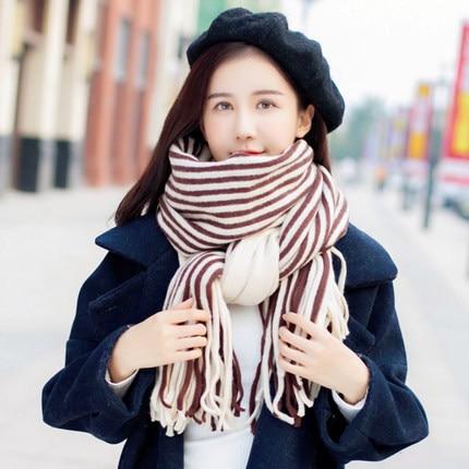 ea9c5339054f Click here to Buy Now!! Femmes Rayures Tricot Echarpes Laine Cachemire  Châles Étudiant Col Châle Chaud ...