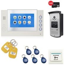 JEX новый 7 дюймов ЖК-дисплей видео домофон система Комплект Запись видео монитор RFID Доступа Управление ИК Камера Бесплатная доставка