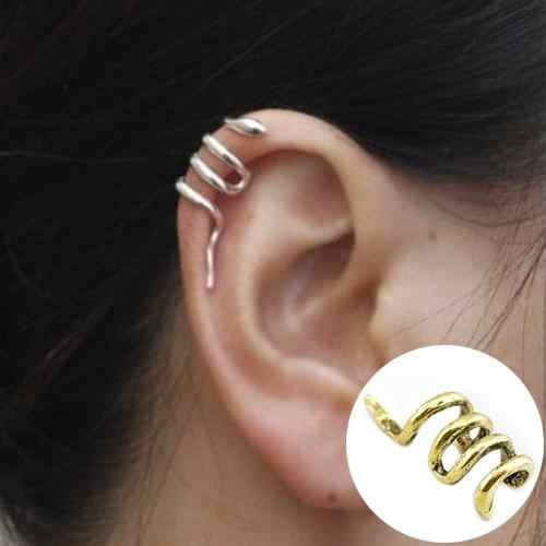 Women Fashion Unique Mini Snake Shape Cuff Ear Clip Punk Earring Jewelry Women Girl Simple Round Circle Small Ear Stud