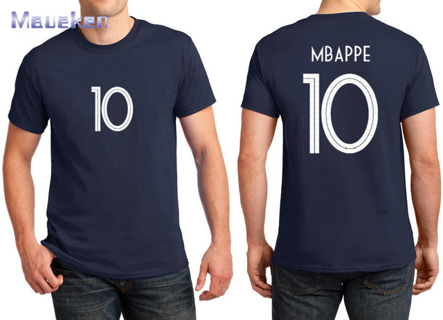 2018 imprim pour nom t shirt kylian mbappe 10 marine bleu blanc t shirt pour france fans cadeau. Black Bedroom Furniture Sets. Home Design Ideas