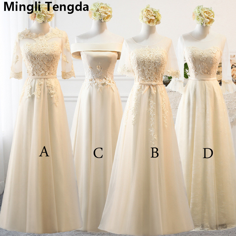 Mingli Tengda Elegant Champagne Appliques Lace   Bridesmaid     Dresses   3/4 Sleeve Lace-up Long   Dress   for Wedding Party vestido dama