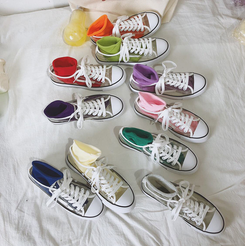 SWYIVY Woman Vulcanize Shoes Sneakers Hot Sale Transparent 2018 New Female  Casual Canvas Shoes PVC Crystal Sneakers Fashion-in Women s Vulcanize Shoes  from ... fc665258f1eb