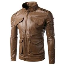 Black brown 2016 spring chaqueta cuero hombre motorcycle leather jacket men PU coat  three-dimensional outerwear M – 2XL