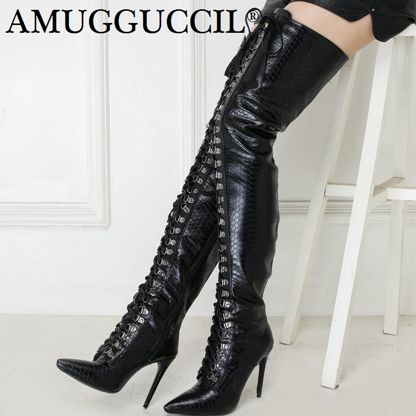 2019 Plus Big Size 34-47 Black Zip Lace Up Buckle Fashion Sexy Thigh High Heel Over The Knee Winter Autumn Lady Women Boot X1786