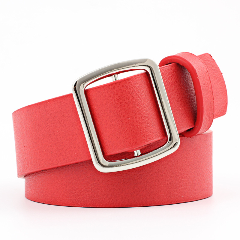 Badinka 2018 New Black Red White Wide Faux Leather Waist Belt Female Ladies Pin Buckle Trousers Jean Strap Belts for Women