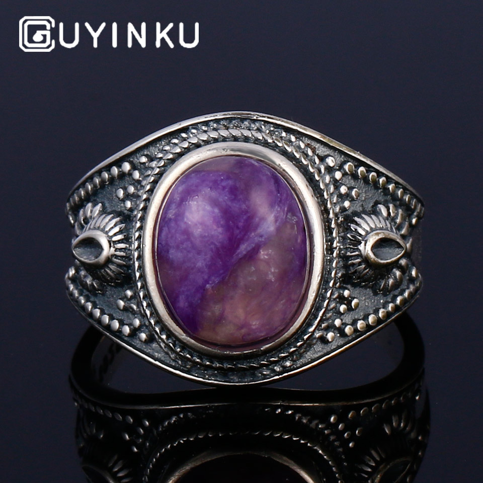GUYINKU Natural Charoite Lapis Rose Quartz Colorful Gemstone Rings 925 Sterling Silver Jewelry For Women Men Couple Ring