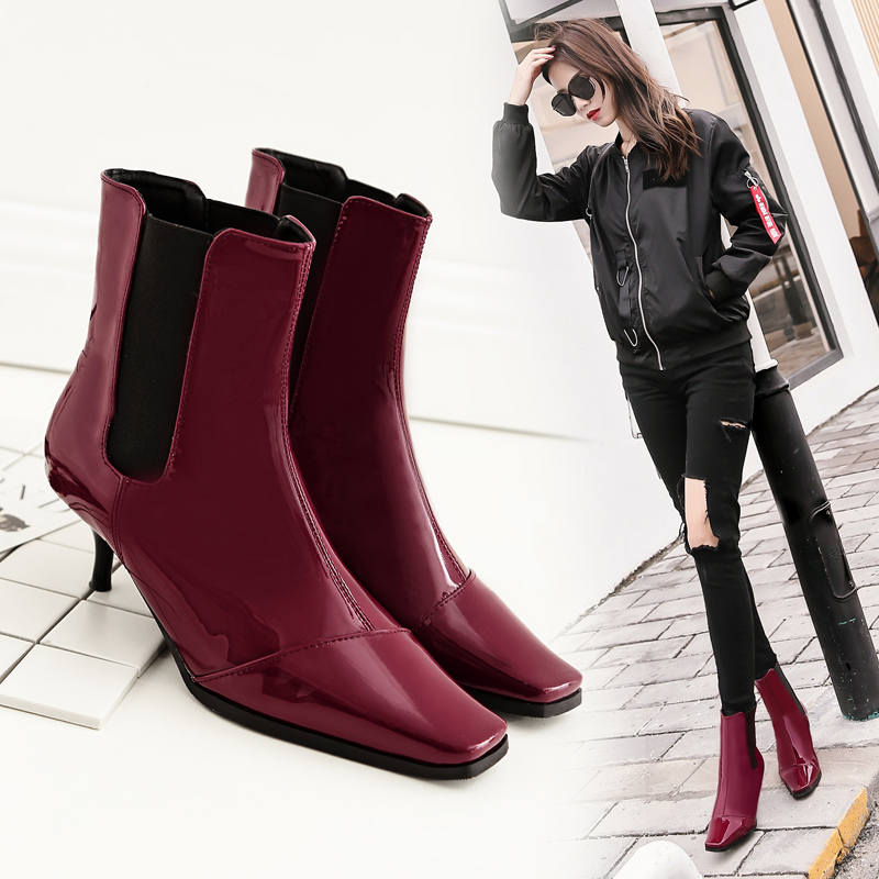 797f7f64fd3 Brand women s shoes Wine Red Blue Black Patent Leather Boots Fine With The  Personality Of The Unique Design Style Of Fashion-in Mid-Calf Boots from  Shoes on ...